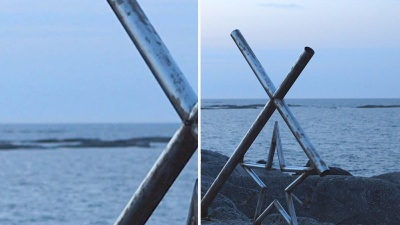 Two compared versions of one photo with sculptures of iron pipes crossed and star-shaped on the background of the evening sea