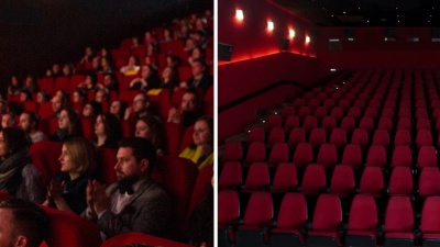 Two photos combined, one of an empty cinema, the other - of a full, with a dividing white parallel line in the middle.